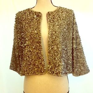 Zara Cropped Sequin Jacket in Gray/Silver Large